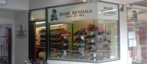 Photo of Mark Kendall Shoes shop window and entrance on Lane at east Opera House, 117A Manners Street, opposite Te Aro Park, Wellington.