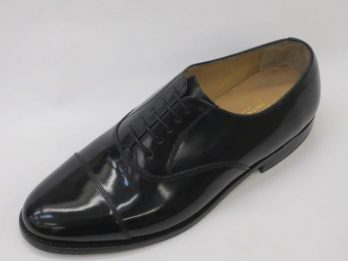 The Arnold shoe by Barker UK 'Professional Collection', has a Hi-Shine leather Upper & Goodyear welted sole. Wide fit model. The Arnold model shoe is shown here in oblique view.