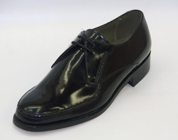 Barker Shoes Pitney wide black derby stitched leather rubber goodyear welted shoe, seen here in oblique view. From Barker Shoes Heritage Collection. Made in England.
