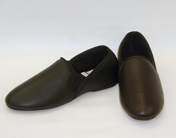 The Bristol model slipper by Givani has deerskin leather uppers with wool lining, and suede sole, at Mark Kendall Shoes. The Bristol is shown here as a pair.