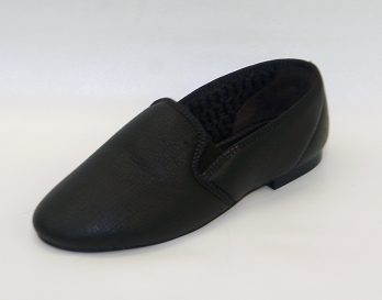 The Laurence model slipper by Givani has a deerskin upper with wool lining, and cemented leather sole with rubber heel, at Mark Kendall Shoes. The Laurence slipper is shown here in oblique view.