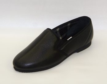 The Mitchell Slipper by Givani, has a Deerskin in Black or Dark Brown, with wool lining, and a cement rubber sole and heel unit.