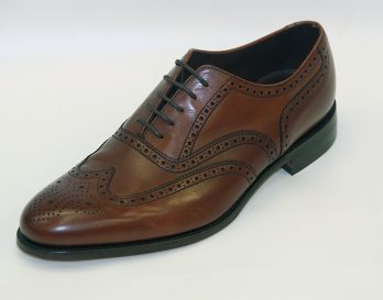 The Bailey model brogue shoe by Loake seen in oblique view. At Mark Kendall Shoes Wellington.