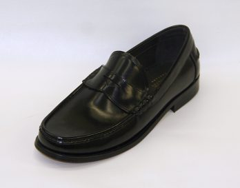 The Kingston Leather Loafer by Loake seen in oblique view. At Mark Kendall Shoes Wellington.