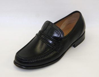 The Rome model Leather Loafer by Loake seen in oblique view. At Mark Kendall Shoes Wellington.