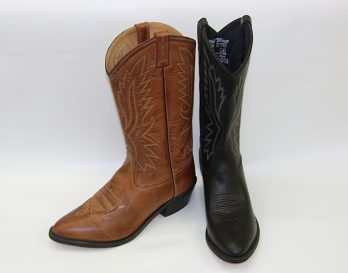 The Old West style 2010 leather cowboy boot seen at Mark Kendall Shoes Wellington.