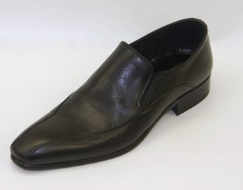 Progetto 1085 model is a slip-on shoe at Mark Kendall Shoes, shown here in oblique view.