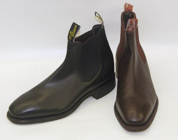 RM Williams Comfort Craftsman model chelsea boot from Mark Kendall Shoes, shown here in black and brown.