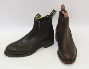 The Gardener model chelsea boot by R. M. Williams , from Mark Kendall Shoes, shown here in black and brown.