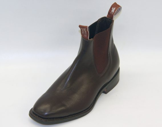 The Trentham Chelsea Boot by Thomas Cook, from Mark Kendall Shoes, shown here in oblique view.