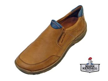 """The Nolan 09 model by Josef Seibel is a Smart Summer Slip-On shoe. The Nolan sole unit goes up over leather upper at the heel, similar to a """"Driving Moc"""". The Nolan's lining is Leather Quartered and it's Leather-covered Removable Foot-bed provides additional comfort. The Nolan is shown here in oblique view."""