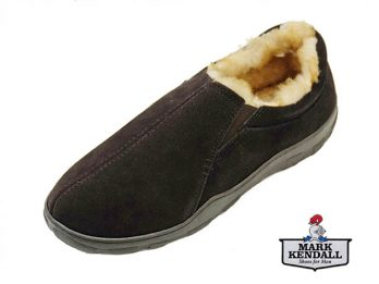 Tamarac Colorado house shoe slipper at Mark Kendall Shoes. The Colorado slipper is shown here in upper oblique view.
