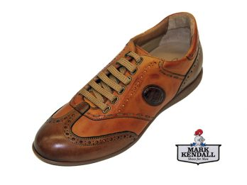 Galizio Torresi tan leather lace up sneaker 341954 oblique view at Mark Kendall Shoes